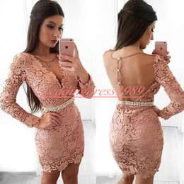 6161662d32 Green strap dress online shopping - Sexy Sheath Arabic Homecoming Dresses  Sheer Lace Long Sleeve Knee