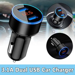 Moblie Car Australia - 3.1A 5V Dual USB Car Charger LED Display Quick Charge Moblie Phone Fast Charging Smart Protection for iPhone Samsung Tablet Auto