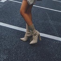 $enCountryForm.capitalKeyWord Australia - 2019Hot Sale Beige Knit Women Boots Kim Kardashian Style Pointed Toe Block Heels Short Boots 11CM High Heels Women Ankle Boots