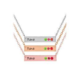 $enCountryForm.capitalKeyWord Australia - Crystal Mommy Mom Nana Birthstone Horizontal Bar Necklaces with silver rose gold Chain for Women Family Jewelry DROP SHIP 162225
