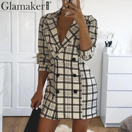 Discount double breasted trench dress - Sexy plaid deep v neck office blazer Women autumn double breasted trench coat Elegant fashion winter long coat dress