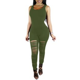 sexy green catsuit 2019 - Sexy Sleeveless Bodycon Fitness Jumpsuit Women Ripped Cutout Club Bodysuit Female Rompers Punk Playsuit Long Catsuit che