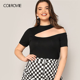 1211dd984a0e88 COLROVIE Plus Size Solid Asymmetrical Cut Out Slim Fitted Tee Women 2019  Elegant Summer Short Sleeve Tops Stand Collar T-Shirt
