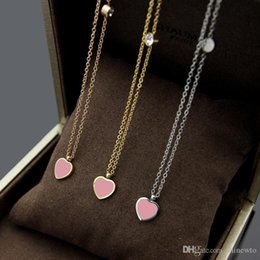 Pendant Letters Gold 18k Australia - New Arrive Fashion Lady 316L Titanium steel Letter T 18K Plated Gold Necklaces With Single Diamond Pink Green Enamel Two-sided Heart Pendant