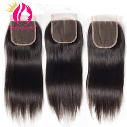 Three Part Human Hair Lace Closure Australia - Sexyqueen Peruvian Virgin Hair Straight Hair Closure 4X4 Lace Closure Unprocessed Human Hair Free Middle Three Part Closures Free Shipping