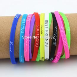 $enCountryForm.capitalKeyWord Australia - Lots 20pcs Mix Colors Letters Print Silicone Bracelet Wristband 5mm Elastic Rubber Friendship Bracelets Men Women Jewelry Yb192