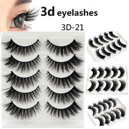 making false eyelashes Australia - 3D False Eyelashes 5 pairs Handmade Thick Fake Eye Lashes Beauty Makeup Eyelash Extensions Faux 3D Fiber Lashes Kit