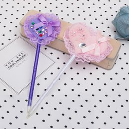 metal ballpen UK - Ballpen Plastic Cartoon Heart Blue Pencil Lead Fashion Office Supplie Metal Rubbion Handwork Bold Handwriting For Children Office Two Color