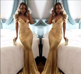 mad spring Canada - 2018 Cheap Simple Soft Satin Sexy V Neck Gold Mermaid Prom Dresses Backless Draped Spaghetti Strap Long Party Dress Evening Wear Custom Mad