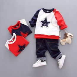 Boy Chinese Suit Australia - Children's Clothing Autumn Sports Suit Boys  girls Five-pointed Star Long-sleeved Round Neck Pullover Sweater + Jeans Two-piece