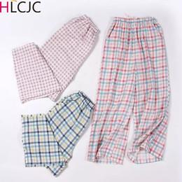 $enCountryForm.capitalKeyWord Australia - Girls Cotton Plaid Calf-Length Pants Women Spring Summer Thin Home pants Side Pocket Korean Version Beach