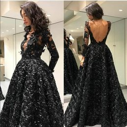 zuhair murad dresses Australia - Evening dress Yousef aljasmi Labourjoisie Zuhair murad A-Line Jewel Long Sleeve Black Backless Tulle Lace Appliqued Long Dress James_paul