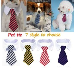 Wholesale 1 Fashion Dog Cat Striped Bow Tie Collar Pet Adjustable Neck Tie For Party Wedding