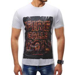 Printed Tees Australia - Male 2019 Brand Short Sleeve Print T Shirt O-neck Slim Men T-shirt Tops Fashion Mens Tee Shirt T Shirts Plus Size 4xl Vd