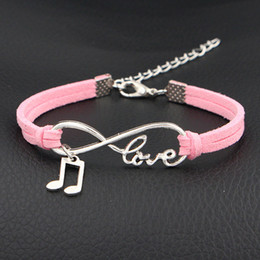 music note bangle NZ - High Quality New Style Silver Alloy Infinity Love Music Note & Melody Charm Bracelets & Bangles Fashion Pink Leather Suede Women Men Jewelry