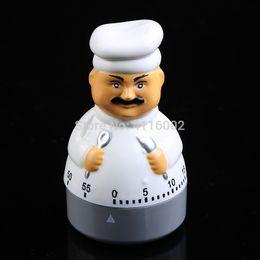 50 unids Chef Style Egg Timer Dial Dial Kitchen Timer Alarma Cocinar la cuenta regresiva Timers cambiantes Tiempo fijado Recordatorio Hasta 60 minutos