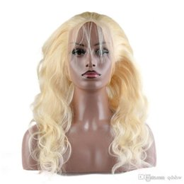 Discount white brazilian hair - 613 Blonde Lace Front Wig Human Hair Body Wave Virgin Brazilian Glueless Preplucked Full Lace Blonde Human Hair Wigs For
