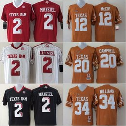 622bb32a0 Youth Texas A&M Aggies 2 Johnny Manziel Jerseys Longhorns 12 Colt McCoy 20  Earl Campbell 34 Ricky Williams Black Red White Stitched