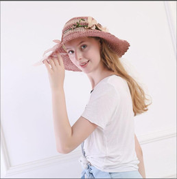 embroidered straw hats Australia - Summer bow straw hat solid color flowers outdoor cool hat Korean casual wave big hat