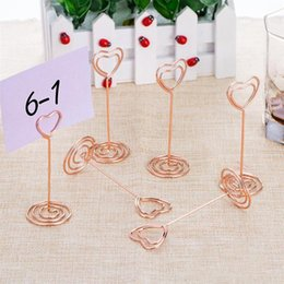 photo place card holders UK - place card holder hand tool home decoration Heart Shape Photo Stands Table Number desk card holder