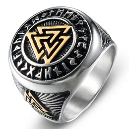 2020 new Titanium steelEuropean and American retro style men's Viking Nordic triangle symbol valknut gold toe rings the on Sale