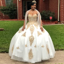 $enCountryForm.capitalKeyWord Australia - Charming White Gold Appliques Ball Gown Quinceanera Dresses With Shawl Sweetheart Corset Back Pageant Dress Floor Length Prom Gowns