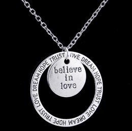 Wholesale Pendant Engraving Australia - Believe In Love Necklace Antique Silver Circle Engraved Dream Hope Trust Pendant Necklace for Women Inspire Jewelry Mother's Day Gift