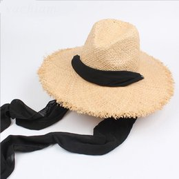 $enCountryForm.capitalKeyWord Australia - NEW Floppy 100%Raffia Sun Hats For Women Black Ribbon Lace Up Large Brim Straw Hat Outdoor Beach Summer Caps Chapeu Feminino