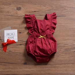 Infant Rompers Girls Australia - Flying Sleeve INS Red Baby Girls Sleeveless Rompers Must-have Infant Girls Bodysuits One-piece Sleeveless Toddler Bodysuits Girls Jumpsuit