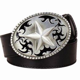 Star Belts Australia - New Mens Genuine Leather Belt Metal Buckle Star Cowhide Waist Belts Strap Punk Rock Style Trend Belt for Men Women Fashion Street Gridle