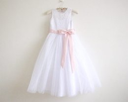 Chinese  Flower Girl Dress Little Girl Princess Clothing Long Lace Skirt Baby Bridesmaid For Formal Wedding Occasion Wish Sash Princess Bow Brithday manufacturers