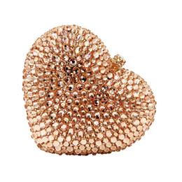 $enCountryForm.capitalKeyWord UK - Dgrain Exquisite Hollow Out Crystal Women Evening Purse Heart Metal Clutches Bag Bridal Wedding Clutch Party Handbag Purse