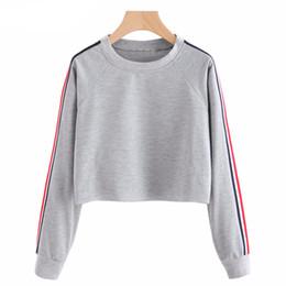 045e35c145bc6 Women Crop Top Hoodie 2018 Spring Casual Long Sleeve Pullover Striped  Sweatshirts Female Hoodies Cropped Sweatshirt Sudadera