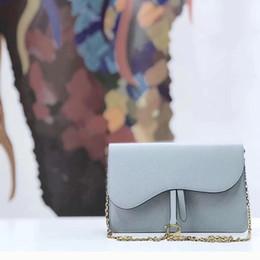 1acdc6d3b Bolsa de sillín a la moda de 22 cm, cuero genuino, azul claro / blanco /  negro, bolso de 3 colores para el verano