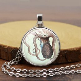 marine clothes 2019 - 2019 new creative pendant necklace marine bio jewelry octopus time gemstone necklace alloy glass pendant clothing access