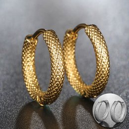 Unique Hoop Earring For Women Silver Gold Color Stainless Steel Female Fashion Jewelry Birthday Gift NZ352