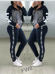 Girl s cotton lonG pants online shopping - Women Love Pink Letter Tracksuit Plus Size Outfit girls sportswear Hoodie long Pants Trousers pieces set Spring yoga Casual Clothes Suit