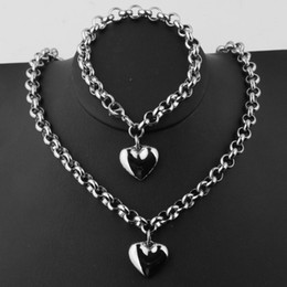 "silver chains rolo bracelets NZ - High Quality Cute Tone 316L Stainless Steel Silver Rolo Chain Pendant Necklace 18""&Bracelet 8"" Womens's Jewelry Sets Charm"
