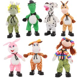 donkey dolls Canada - Cross border electric shake head tortoise rabbit cow Plush electric toy shake head doll singing dancing shake head donkey