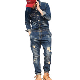 jumpsuit styles for plus size UK - MORUANCLE Fashion Men's Ripped Denim Bib Overalls With Jackets Distressed Jeans Jumpsuits For Male Work Suit Stage Costumes