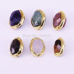color stone charms NZ - 10Pcs Oval Shape Charms Gold Color Assorted Nature Stone Connector Spacer Beads for Bracelet Findings