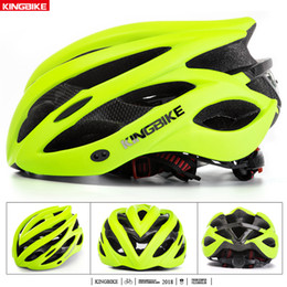 white green road helmet Australia - KINGBIKE Green Bicycle Helmet Ultralight In-mold Cycling Helmet With Visor Breathable Road Mountain MTB Outdoor Bike
