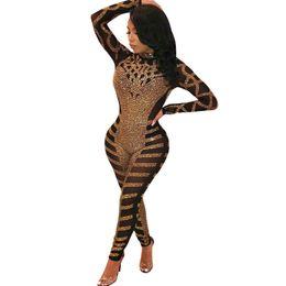 $enCountryForm.capitalKeyWord Australia - Luxury Rhinestone Sparkly Jumpsuit Women Turtleneck Long Sleeve Mesh Romper Sexy Sheer Birthday Nightclub Bodycon Party Overalls T5190614