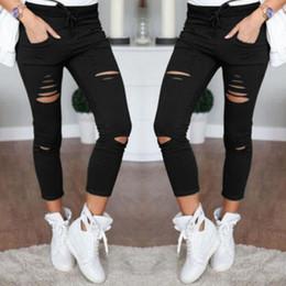 $enCountryForm.capitalKeyWord Australia - Women Slim Ripped Capris Fashion Hole Casual Cotton Nine Points Pencil Pants Female Skinny Pants with Elastic Waist