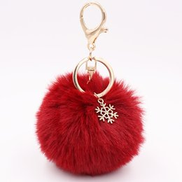 Artificial Chains Wholesalers UK - Key Chain Snowflake Fur Ball Pompom Artificial Rabbit Fur Keychains