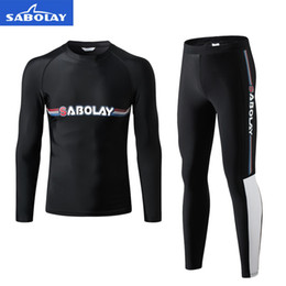 swim leggings NZ - Long Sleeve Rash Guard Men UPF 50+ Surfing Shirt And Full Leggings Surf Wear Diving Suit Swimming Water Sports Swimwear
