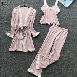 474062cc0 Women Nightwear Brands Australia - BZEL Brand 3pcs Suit Ladies Sexy Pleuche  Pajama Set Female Lace
