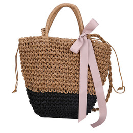 Chinese  Maison Fabre Women Messenger Bag HOT sale Summer Beach Solid Straw Shoulder Bag Female Handmade Weaving lady Bow Casual Tote manufacturers