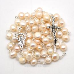 $enCountryForm.capitalKeyWord Australia - White Freshwater Pearls Catholic Rosaries Necklaces Welcome Customized Rosary J190530