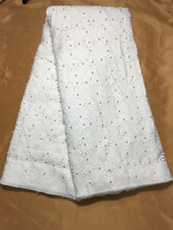 Wholesale beads for clothing decoration for sale - Group buy 5Yards pc Nice looking white african cotton fabric with beads decoration flower style swiss voile mesh fabric for clothes QC2